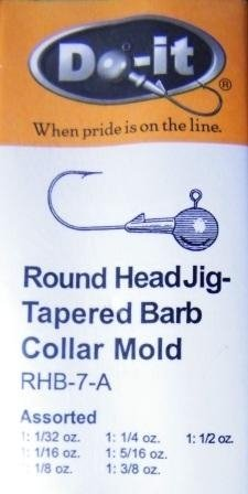 Round Head Jig - Tapered Barb Collar- Assorted